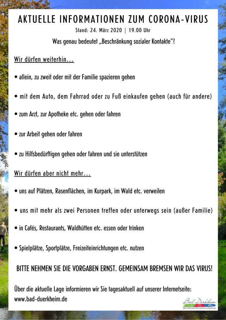 Aktuelle Informationen der Stadt Bad Dürkheim zum Corona-Virus Stand 24.03.2020 19:00 Uhr